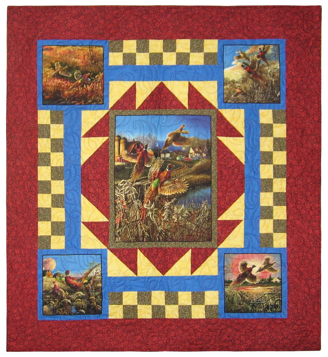 "Pheasant Country Quilt 58"" x 68"""