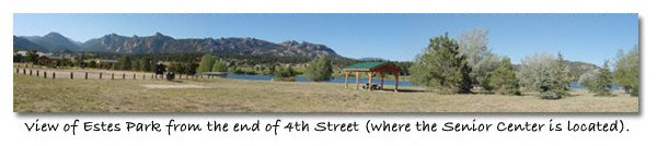 panorama of view looking at Lake Estes, Estes Park, CO, © Copyright Heidi Wurst, photographer