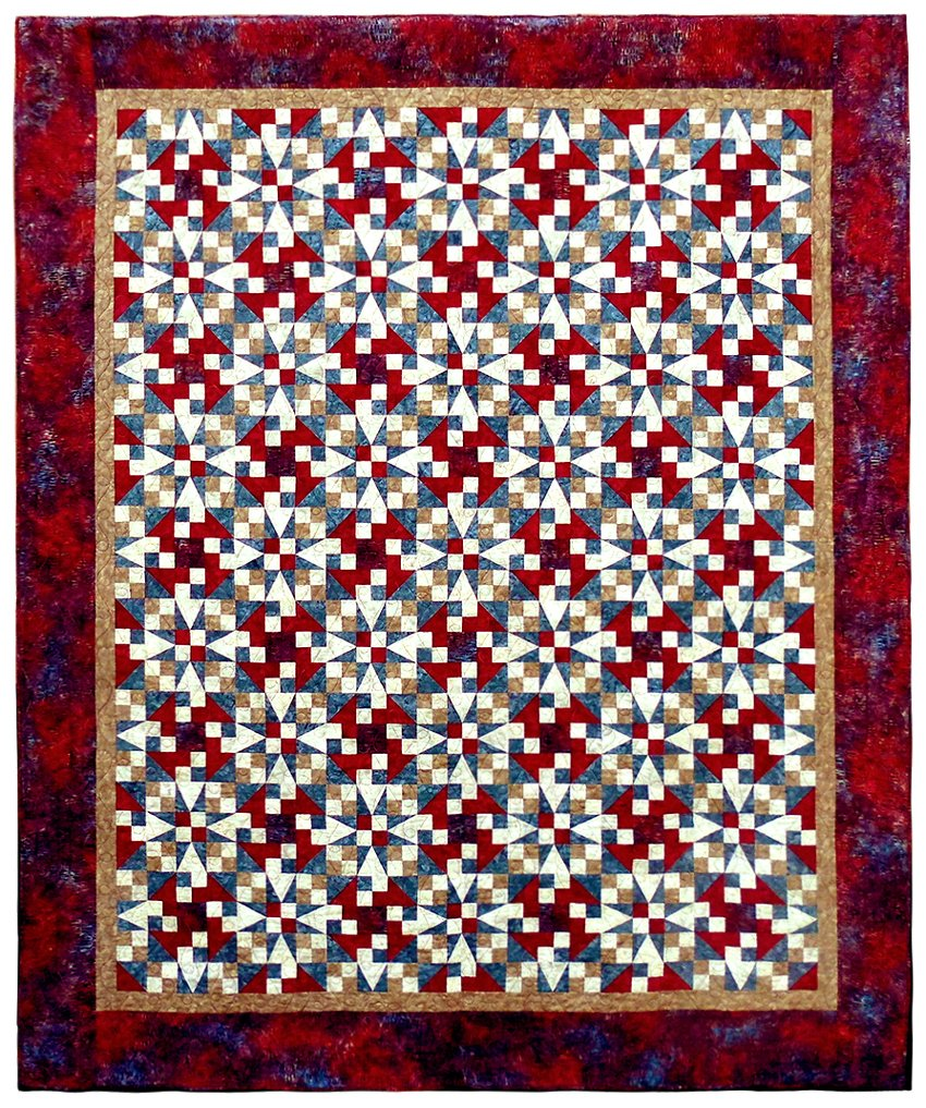 "Star Spangled Dashes Quilt 87"" x 103"""